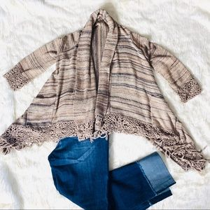 FOREVER 21 OPEN FRONT FRINGED CARDIGAN size S
